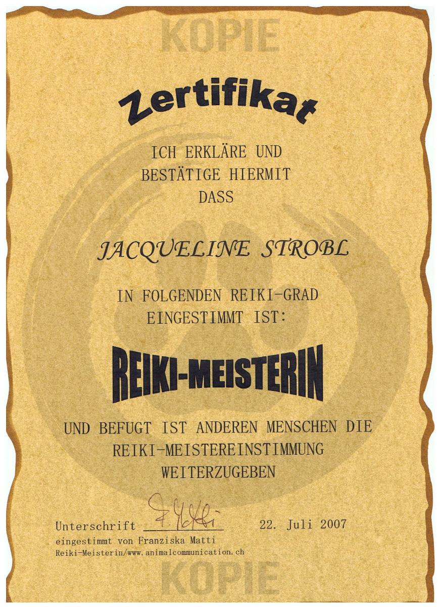 Zertifikat Reiki Meister